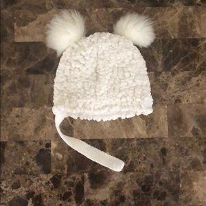 Double pom pom infant beanie white